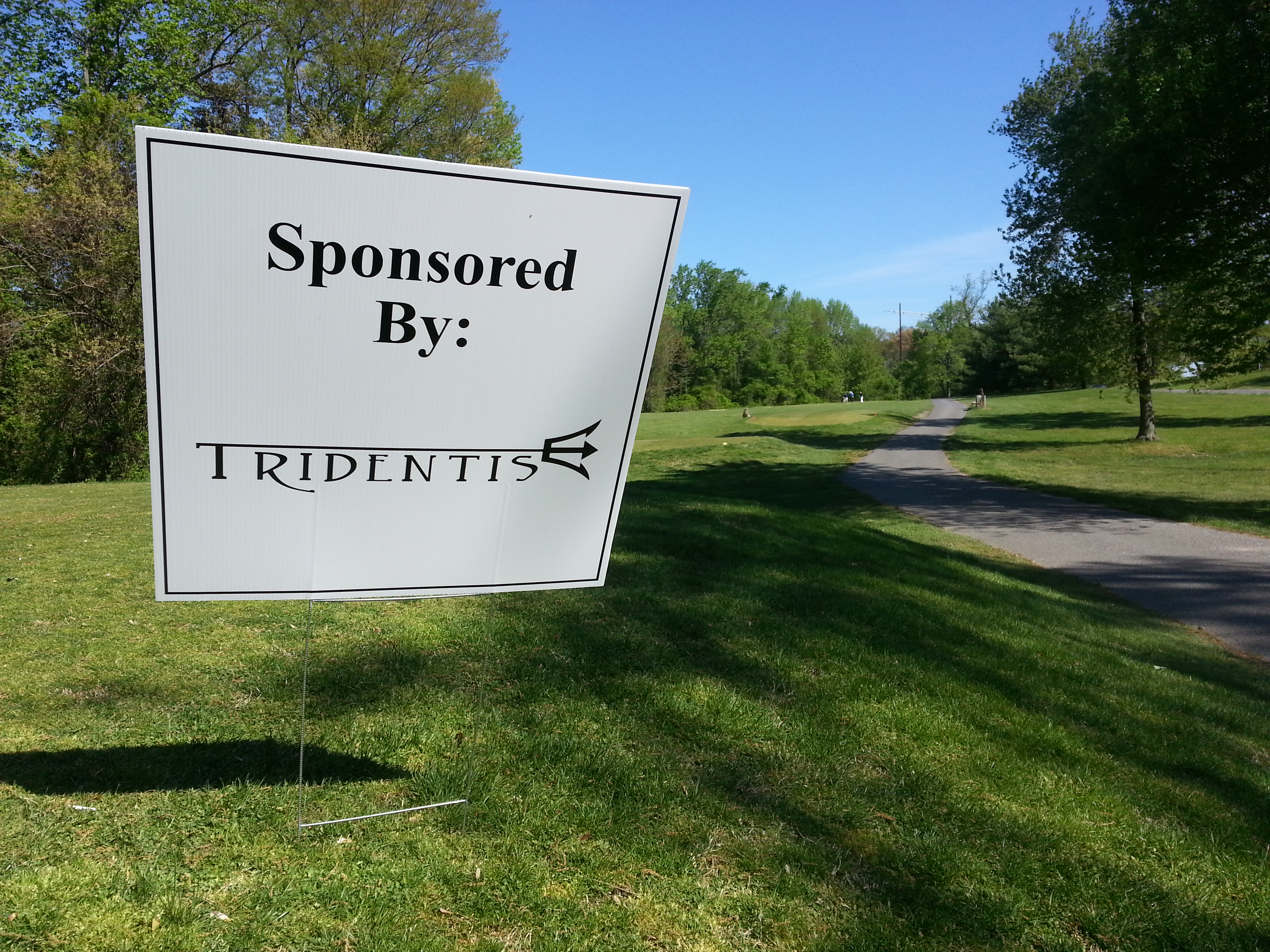 Golf tournament hole sponsorship sign
